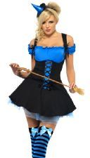 Fever Wicked Witch Costume - Blue and Black, includes Dress and Hat on headband - 3 sizes available. http://www.novelties-direct.co.uk/Fever-Wicked-Witch-Blue-Costume.html