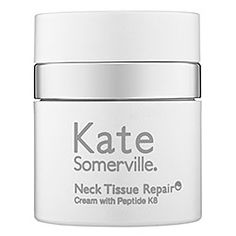 Kate Somerville - Neck Tissue Repair Cream with Peptide K8™   An advanced antiaging neck cream.    What it is formulated to do:  This cream provides superior hydration, firming and anti-wrinkle benefits to the neck and décolleté. Its Advanced Moisture Complex moisturizes and softens skin. As it hydrates, high-performance peptides and progressive technologies work to smooth wrinkles and improve overall firmness, elasticity, and skintone