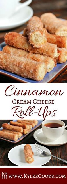 This Baked Cinnamon Cream Cheese Roll-Ups recipe is a simple process that yields an amazing churro-like breakfast treat. 20 minutes in the oven (if you can wait that long) to dig in to these! Recipes Baked Cinnamon Cream Cheese Roll-Ups Köstliche Desserts, Delicious Desserts, Easy Cream Cheese Desserts, Cinnamon Desserts, Cream Cheese Snacks, Cream Cheese Muffins, Cinnamon Recipes, Cream Cheese Cookies, Cream Cheese Recipes Dinner