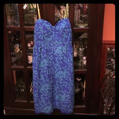 Silk Dress by Maple Anthropologie Royal blue and green dress with beautiful details. See pic 4 for a look at the beautiful green lace hem on slip liner. Back is stretchy so will allow for more generous bust. Anthropologie Dresses Mini