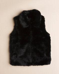 Surell Girls' Black Faux Fur Vest