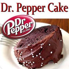 Dr. Pepper Cake: Good cake but does not look anything like this photo. First of all the batter was a gray-ist green color. I used black vegetable based pastry coloring and ended up with a dark drown which I like. The taste is more like yellow cake with a hint of DR. Pepper. It is good just not quiet what I want in a DR. Pepper cake.