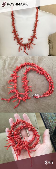 Antique Italian genuine red coral necklace This is your chance own a genuine antique red coral necklace. There are no more coral left in the Med, so the ones for sale today as vintage & antique, are the last of the undyed variety. This item is from the late 50s and you can tell from the clasp and its style that the necklace has some age to it. The wiring is strong but could do with changing since it has stretched a bit throughout time. Otherwise in good vintage condition. This necklace…