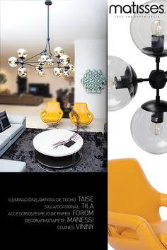 Experiencia Matisses: Los detalles pueden estar presentes tanto en el mobiliario como en los decorativos, para un living con estilo moderno las lámparas de techo y los espejos, son los mejores aliados.