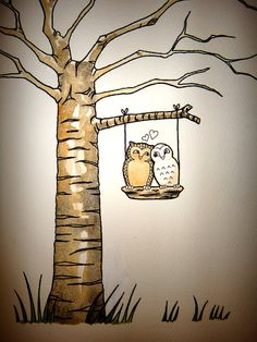 Custom Wedding Guest Book Tree with Love Owls