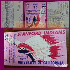 Stanford Indians vs Cal Football Game 1959 ticket by kookykitsch, $21.00