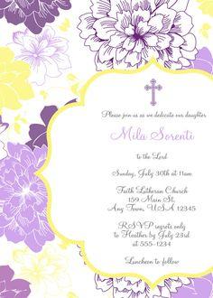 Invitación imprimible bautizo Floral Floral por inglishdigidesign