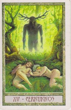 "cosmic-rebirth:  The Druidcraft Tarot's ""Cernunnos"" card."