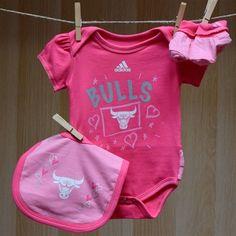 Bulls Baby TuTu Onesie Bib Booties - Pink