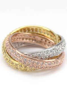 Silver & Co Tri-Color Plated Silver & Pave Zirconia Interlocking Rings