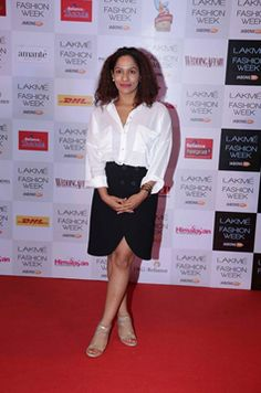 Masaba Gupta opted for the classic black and white combination at Lakme Fashion Week Red Carpet #WinterFestive 2014.