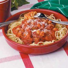 Vegetarian Spaghetti;  whole wheat noodles, made own sauce, no sugar, no cheese