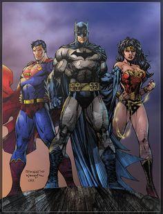 Pencils: Jim Lee Inks: Scott Williams [link] Colors: Me Trinity Comic Link, Justice League Comics, Dc Trinity, Dc World, Justice Society Of America, Superman Wonder Woman, Dc Comics Art, Marvel Comics, Superhero Design