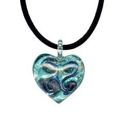 Aquamarine Colored Murano Glass Heart with Pure Platinum Pen