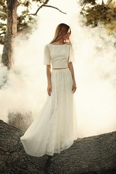 Cropped two-piece wedding dress by Boho indie bridal label, Dreamers & Lovers
