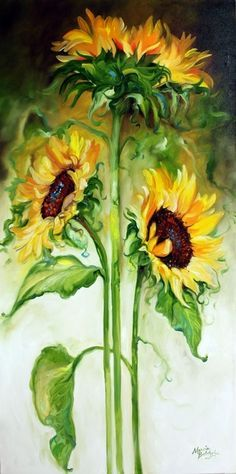 From my 2010 Floral Abstracts, this new original oil painting depicting  three huge sunflowers against a modern background of muted earth tones and  green to ...