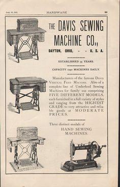 sewing machine company Dayton    ... Davis Sewing Machine Thread Bobbin Dayton Fabric   Antique Machines