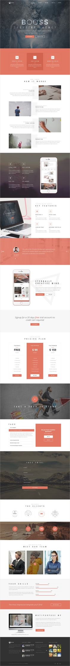 Booss is creative multipurpose #onepage #PSD #template for business, personal…