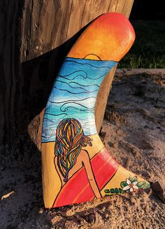 Painted Surfboard Fin Hand Carved Wood Surfer by EcoArtWoodDesign