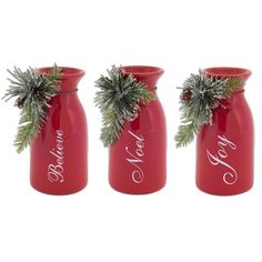 Pack of 6 Red Milk Bottles with Berry and Pine Accents Christmas Decorations 6 Starbucks Glass Bottle Crafts, Starbucks Bottles, Frappuccino Bottles, Christmas Jars, Christmas Crafts, Christmas Decorations, Xmas, Christmas Stuff, Christmas Ideas