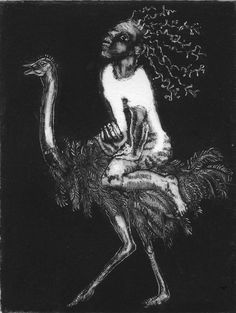 Circus Print. Black and White. Giclee Print. Ostrich. Carnival Artwork. Limited Edition. Fantasy Art. Etching. Theatrical. Traditional Freak by sassyluke on Etsy
