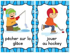 Les activités d'hiver - Mini Winter Activity Posters in French Alphabet Code, French Teacher, Teaching French, Teaching Kids, Kids Learning, Theme Sport, Hockey, French Verbs, French Education