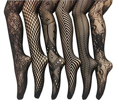 ffde76ad7d85b Frenchic Seamless Fishnet Lace Stocking Tights - Extended Sizes (Pack of 6)  (M-L), Black