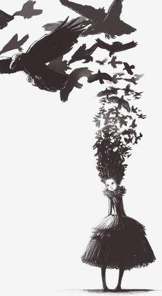 Surreal art ~ Birds ~ Girl