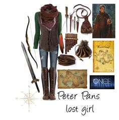 """Ouat Peter Pan- lost girl"" by ana-lowpezz ❤ liked on Polyvore featuring True Religion, Yves Saint Laurent, Faliero Sarti, John Fluevog, Ann Demeulemeester and Once Upon a Time"