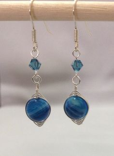 Natural Painted Blue Agate Earring made of by OritWhiteLight