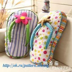 Sewing Pillows Tomato ocean cushion pillow flip flops fabric print soft home - Cute Pillows, Baby Pillows, Throw Pillows, Fabric Crafts, Sewing Crafts, Sewing Projects, Cushion Covers, Pillow Covers, Cushion Pillow