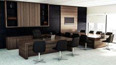 Ambiente Diretoria com Reunião | Projeto personalizado sob medida | mdf padrão mocaccino x mdf padrão fresno negro e com detalhes em lacca preto brilho