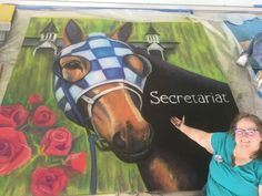 """About 12 hours of work. 8ft x 8ft #chalkart The greatest race horse ever """"Big Red"""" Secretariat 2017 TBBCA Chalk Walk with Gasparilla Festival of the Arts. Sports Heroes brought to life under the eaves Tampa Museum of Art!"""