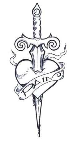 Heart Drawings with a Knife | heart dagger tattoo visible with the best heart dagger tattoo