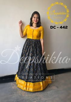 DC - Beautiful mustard and black color floor length anarkali dress.For queries kindly WhatsApp : 9059683293 . Long Gown Dress, Frock Dress, Long Frock, Long Dresses, Kalamkari Dresses, Ikkat Dresses, Saree Blouse Neck Designs, Dress Neck Designs, Saree Gown