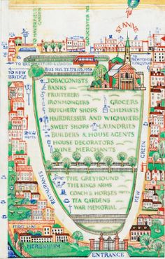 Edward Bawden – Detail from A General Guide to the Royal Botanic Gardens Kew, Spring & Easter 1923 © The Edward Bawden Estate Purchased with the assistance of the Art Fund Book And Magazine, Magazine Art, Hotel Sweet, London Market, Art Fund, London Transport, Mystery Of History, Kew Gardens, Map Design