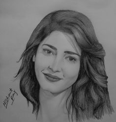 sketch of Yami Gautam Pencil Sketch Portrait, Pencil Sketch Drawing, Girl Drawing Sketches, Portrait Sketches, Pencil Art Drawings, Cute Drawings, Girl Face Drawing, Fine Art Drawing, Drawing Stars