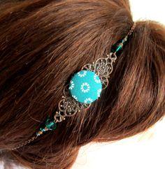 Headband rétro, bohème chic, cuivre, vert émeraude, bijou de tête, collier, cabochon en tissu, cristal de verre : Accessoires coiffure par color-life-bijoux
