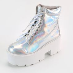 NEW!-HOLOGRAM-AESTHETICS-TUMBLR HOLO SILVER boots ($100) ❤ liked on Polyvore featuring shoes, boots, high heel boots, silver hologram boots, silver shoes, hologram boots and high heeled footwear