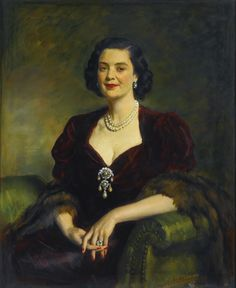 PROPERTY FROM THE ESTATE OF MARY, DUCHESS OF ROXBURGHE - Sir Oswald Birley  1880 - 1952 - THE DUCHESS OF ROXBURGHE, MARY INNES-KER - signed and dated u.l.: Oswald Birley/ 1948; signed, titled and inscribed with the artist's address on a Royal Society of Portrait Painters label attached to the stretcher, oil on canvas 110 by 90cm., 43 by 35½in.