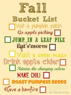 fall-bucket-list, try with the kids? Yeah i think so Herbst Bucket List, Happy Fall Y'all, First Day Of School, Best Mom, Fall Halloween, Halloween Crafts, Halloween Ideas, Halloween Quotes, Halloween Stuff