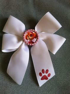 """Paw Patrol """"SKYE""""Hairbows  Paw Bottle Cap Adorable Boutique. Lil Sis Cheer Bow Glitter Paw Print - Pictures don't do this adorable bow justice:)"""