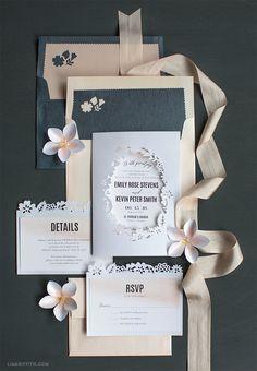 Blush Watercolor Papercut Wedding Invitations