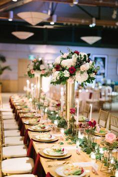 Gold And Burgundy Reception Weddingreception Tabledecor Centerpieces Flowers Bridal Party Robes