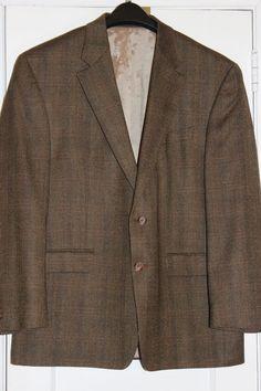 Ralph Lauren Brown Lambs Wool Herringbone Windowpane 2-Button Blazer  Jacket 44R #RalphLauren #TwoButtonBlazer