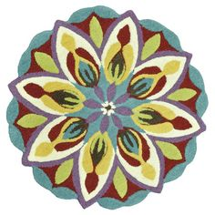 Multicolor wool rug with a floral motif and silhouette.   Product: RugConstruction Material: 100% WoolCo...