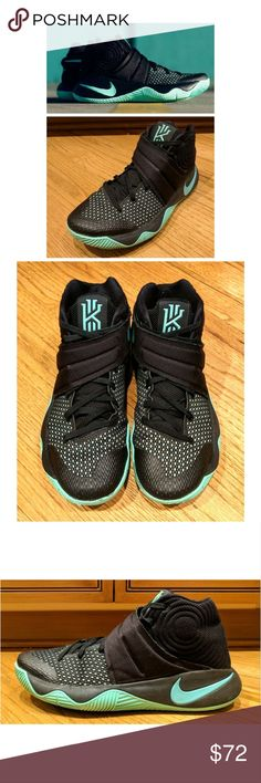 🔥NIKE Kyrie 2 Green Glow Sneakers These awesome Nike Kyrie 2 Green Glow sneakers are perfect for dressing any occasion! Black upper and green Glow detailing on tongue logo, Nike swoosh and outsole. Black mesh material for breathable fit. Stylish wrap across design. US size 9, UK 8, EUR 42.5, 27 cm. In GREAT condition! Grab yours for less and look the best in your Nike shoes! Nike Shoes Sneakers