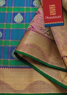 Jacquard saree eith elegant peacock blue and fine zari work in pallu. South Indian Wedding Saree, Wedding Silk Saree, Dress Wedding, Saree Dress, Saree Blouse, Sari, Kanchipuram Saree, Banarasi Sarees, Brocade Saree