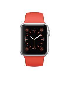 Apple Watch Sport – Caixa de 38 mm prateada de alumínio com pulseira desportiva laranja