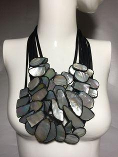 "Danish Monies Gerda Lynggaard Mother Of Pearl Leather 22"" Multi Strands Necklace #Monies #Necklace"